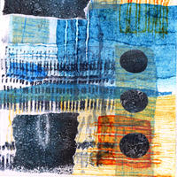 Detail from Raindrops, etching, collagraph, chine collé and monotype
