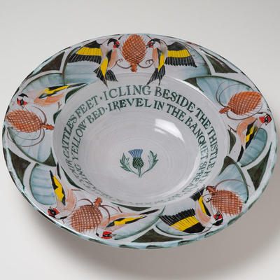 Goldfinch Bowl with inscription/ Earthenware /42cm
