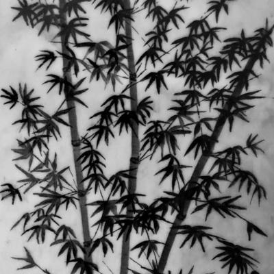 Japanese Bamboo Garden Ink Painting on Marble 17cm x 30cm