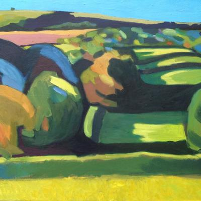Burghclere Fields / Oil painting / 70 x 50 cm