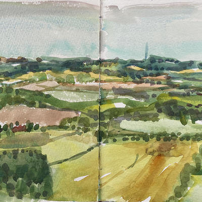 From Combe Gibbet / Watercolour sketch / 21x29.7 cm