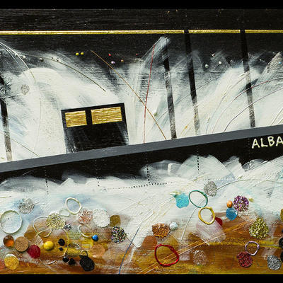 The Wreck of the Alba, acrylic and mixed media with gold leaf on panel