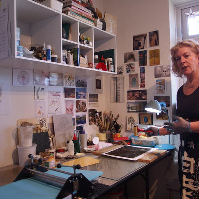 In My Studio. Photo - Preparing a collagraph plate for printing.