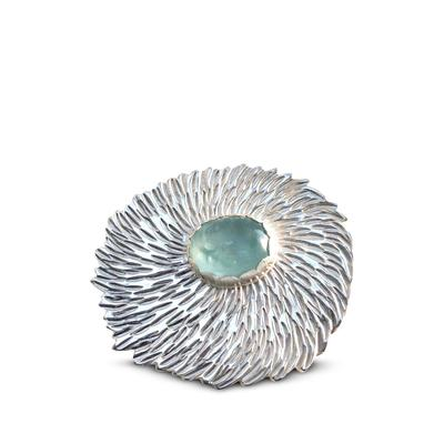 Silver floral brooch with aquamarine gemstone