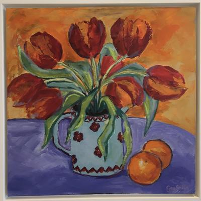 Red Tulips in blue vase with oranges - Acrylic on canvas, 53cm x 53cm Framed