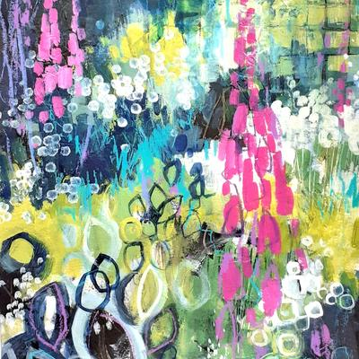 Summer Garden:  Acrylics & Mixed Media