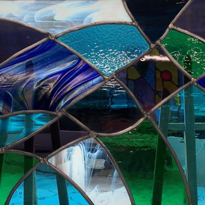 """""""Flowing"""" leaded glass panel with mixed glass, 61x36cm for indoors or outside £415 Justine Buckland"""