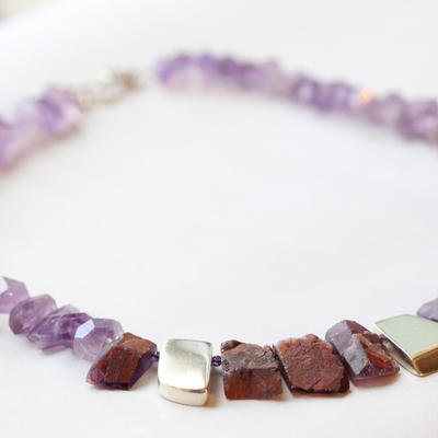 Ametrine, amethyst and silver necklace