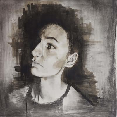 Robyn. A-Level Art, Charcoal and ink on paper.