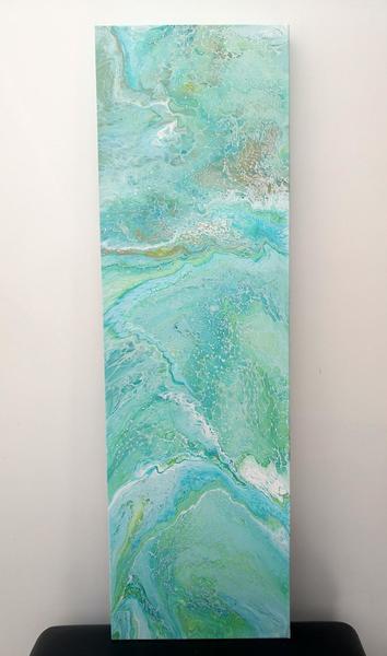 Ocean Colour Scene, Acrylic on Canvas, 100cm High x 30cm Wide x 3cm Deep