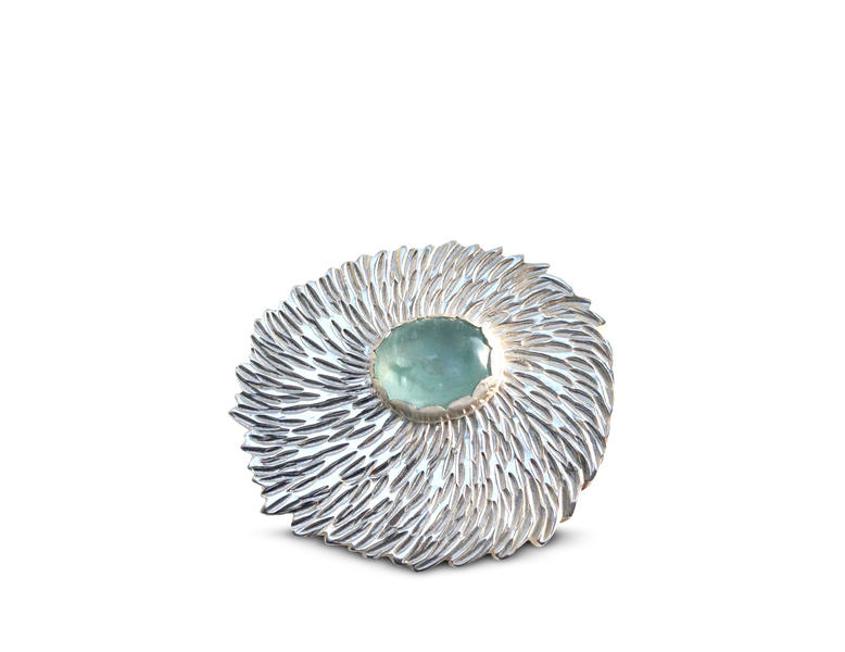 Dahlia Brooch with Aquamarine. Floral textured silver with Aquamarine gem.