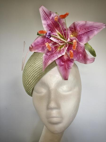 Oriental Lily - Parasisal straw hat with hand painted silk lily and Ostrich quill.