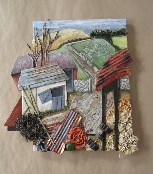 Yorkshire Farm Yard/ mixed media assemblage/ 360mmx480mm