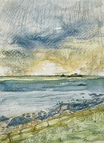 Rainy Cape Cornwall sunset, watercolour, sketchbook