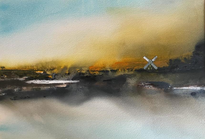 Windmill Sunset, Watercolour, 50 x 40cm