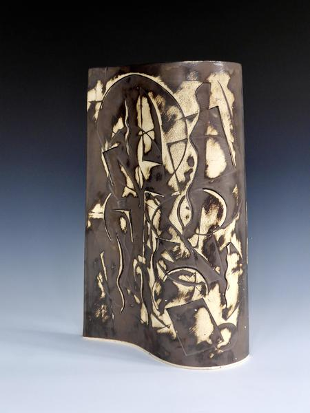 "Ceramic Wall with abstract impressed designs, Buff Stoneware, Metallic Glaze, 18""(h) x 12""(w) £200"