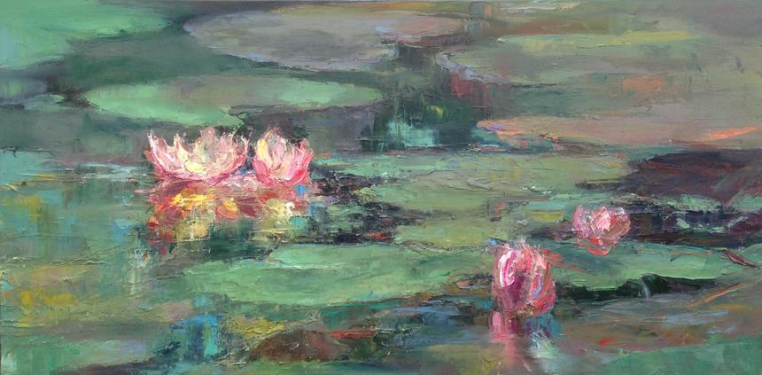 """Lilies"" oil on canvas 100x50cms £795 SOLD Gaila Adair"