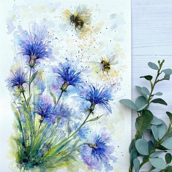 Cornflower and the Bees, A3 watercolour