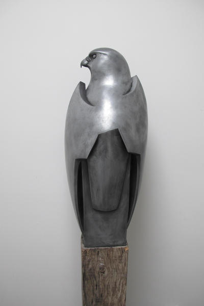 Peregrine Falcon.  Cold cast pewter . Height 59cm