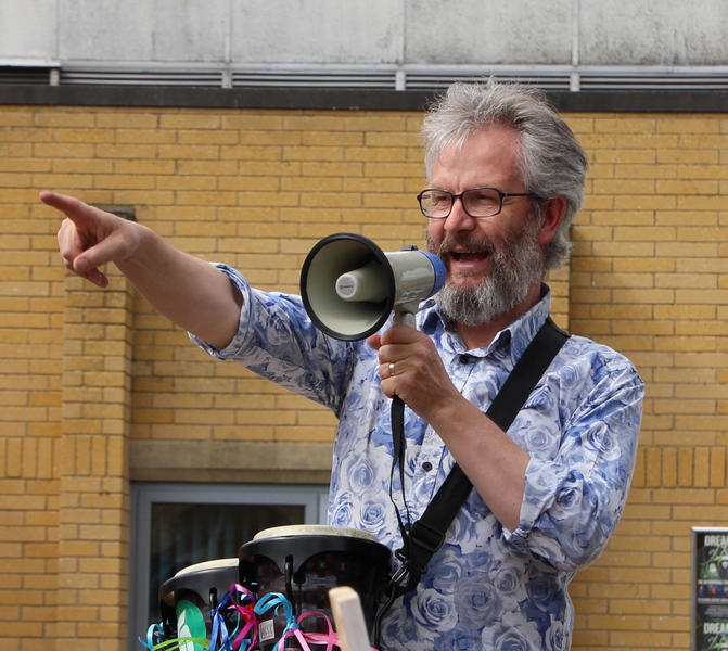 Peter Driver directing 'March for Optimism', Andover, 2015