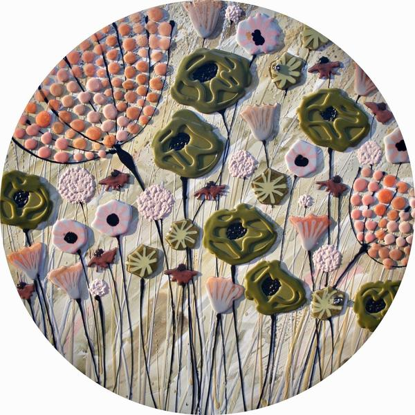 Circular Green & Peach Meadow - 110cm Diameter - Beeswax and Glass on Board