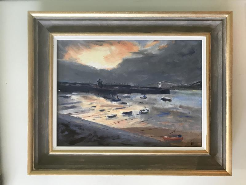 """St. Ives Sunset 16"""" x12"""" Oil on board"""