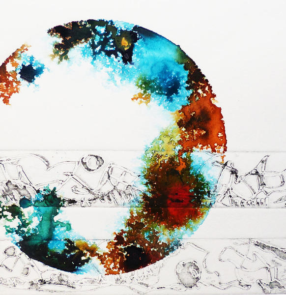 Detail from 'Meditation I', etching with ink wash, 370 x 175mm