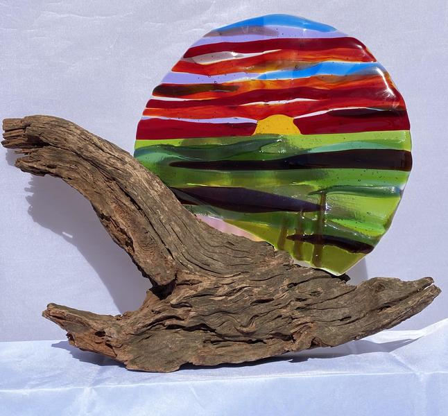 Dreamy Sunset/fused glass/ approx 30cm